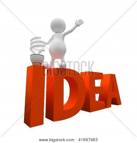 3D People With Word Idea And Lighting Bulb