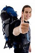 Happy Traveler Showing Thumbs Up poster
