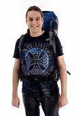 Young Traveler With Bag Pack poster