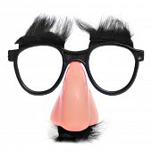 image of nerd glasses  - closeup of a fake nose and glasses - JPG