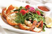 picture of healthy food  - succulent pieces of shrimp flavoured with herbs - JPG