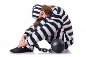 pic of prison uniform  - Prisoner in striped uniform on white - JPG