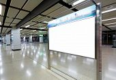 stock photo of bus-shelter  - blank billboard for your advertising - JPG