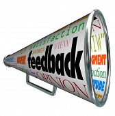 A megaphone or bullhorn with the word feedback and many related terms such as judgment, opinion, rea