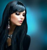 stock photo of jewelry  - Beautiful Brunette Girl - JPG
