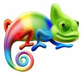 pic of chameleon  - An illustration of a cartoon rainbow coloured chameleon - JPG