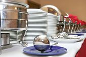 foto of chafing  - photograph of food ware in buffet by catering industry or hotel