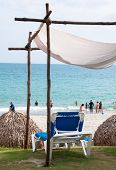 stock photo of cabana  - Small cabana overlooking the ocean and beach - JPG