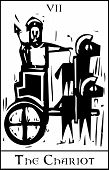 picture of chariot  - Woodcut expressionist style image for the Tarot card of the Chariot - JPG
