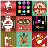 picture of dinner invitation  - illustration of vintage retro label with restaurant menu design collection - JPG