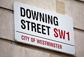 stock photo of minister  - The street sign for Downing Street in London - JPG