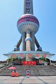 SHANGHAI, CHINA - MAY 28: Oriental Pearl Tower closeup on May 28, 2012 in Shanghai, China. The tower