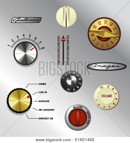 vintage knobs dials and buttons set 5