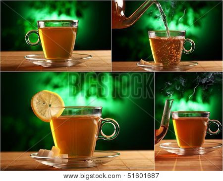 A cup of coffee with a slice of lemon and a teapot nearby is on the table over a mystical greenish background