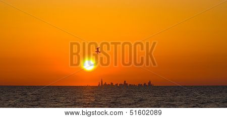 Sunset over Chicago skyline from Indiana