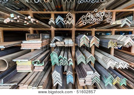 Metal Pipes On Shelf