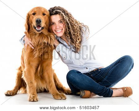 Happy woman with a beautiful dog - isolated over white background