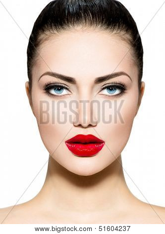 Beauty Woman Portrait. Professional Makeup for Brunette with Blue eyes - Red Lipstick, Smoky Eyes. Beautiful Fashion Model Girl Face. Perfect Skin. Make up. Isolated on a White Background.