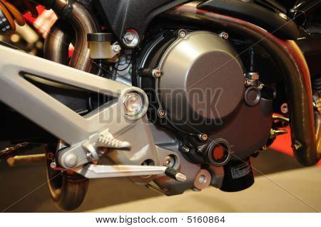 Frame And Engine Of Motor Bike In The Store