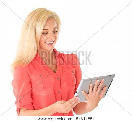 Blonde woman with tablet