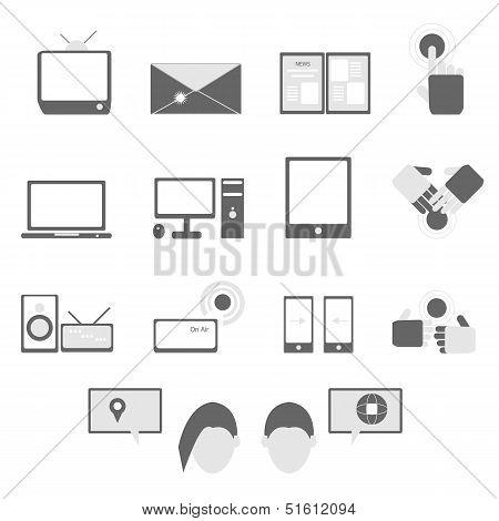 Media And Communication Icons On White Background