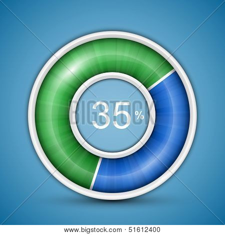 Circular progress bar. Easy to edit and customize vector illustration of round progress bar on blue background with blue-green indicator.
