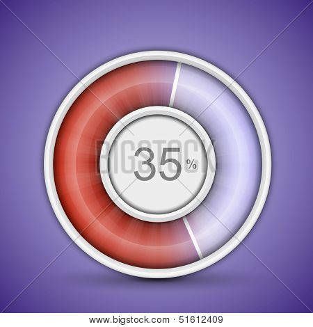 Radial or circular progress bar. Customizable vector illustration of radial progress bar on background with glossy indicator