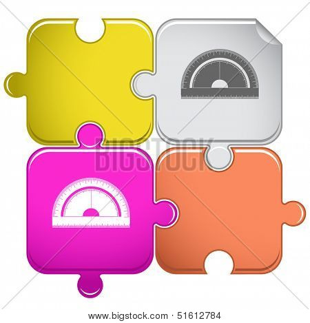 Protractor. Raster puzzle. Vector version is in portfolio.