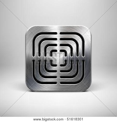 Plantilla icono de la aplicación de tecnología con textura de Metal