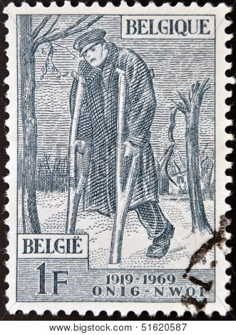 A stamp dedicated to 50th Anniv of National War Invalids Works (O.N.I.G.). Wounded Soldier