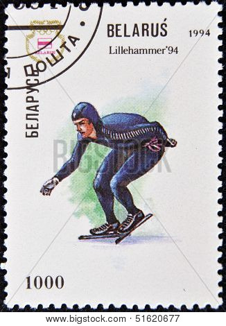 A stamp printed in Belarus shows a a speed skater at the Olympics in Lillehammer in 1994