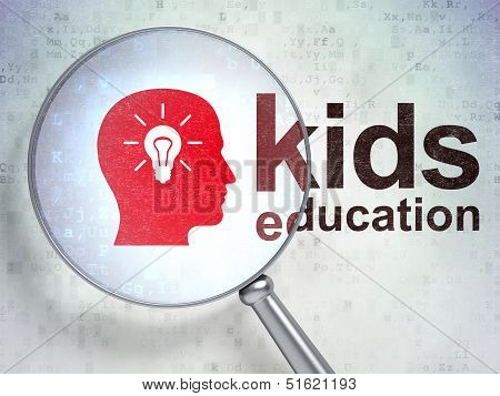 Education concept: Head Whis Light Bulb and Kids Education with