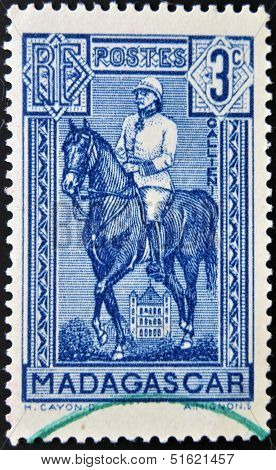 A stamp shows Joseph Simon Gallieni in horse the governor general of Madagascar (1896-1905)