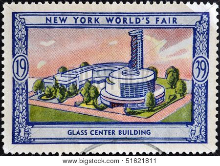 A stamp printed in USA dedicated to new york world's fair 1939 shows glass center building