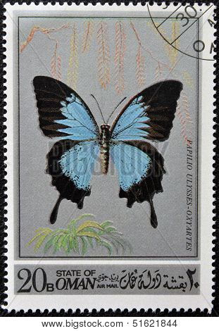 stamp printed in Oman shows a Butterfly Papilio Ulysses-oxiartes