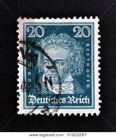 A stamp printed in German Empire show Ludwig van Beethoven