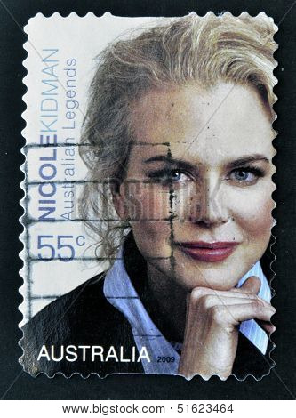 A stamp printed in Australia shows Nicole Kidman