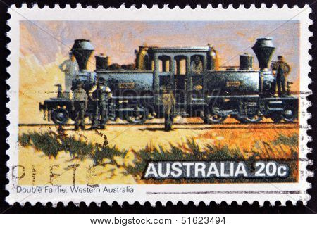 A stamp from Australia shows image of the the Australian steam locomotive Double Fairlie