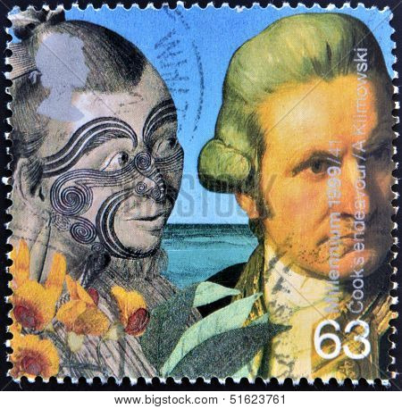 A stamp printed in Great Britain shows Captain Cook and Maori (Captain Cook's voyages)