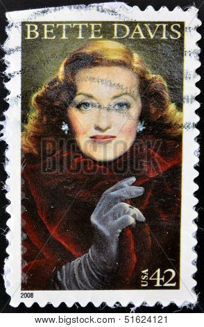 UNITED STATES OF AMERICA - CIRCA 2008: A stamp printed in USA shows Bette Davis circa 2008