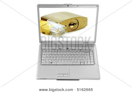 Isolated Laptop Screen And Network Cable And Padlock