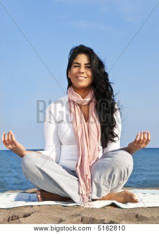 Young Native American Woman Meditating