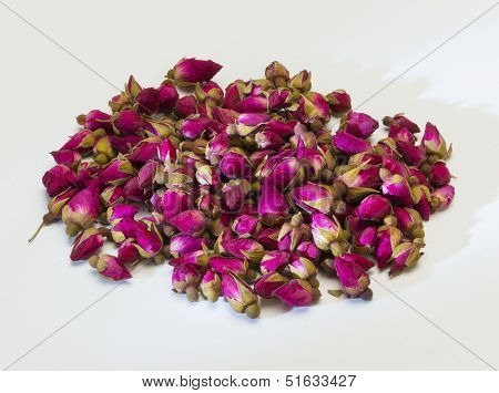 Dried Rose Flower Buds On White Background
