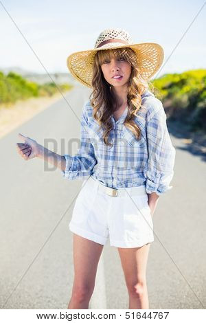 Uneasy gorgeous blonde hitchhiking on a deserted road in summertime