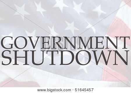 American flag with government shutdown words
