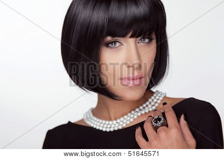 Fashion Haircut. Hairstyle. Sexy Lady. Stylish Fringe. Short Hair Style. Brunette Woman With Jewelry