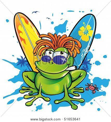 Summer Jamaican Cartoon Frog With Surfboard