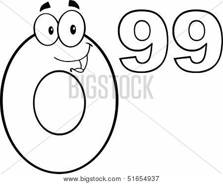 Black And White Price Tag Number 0 99 Cartoon Character