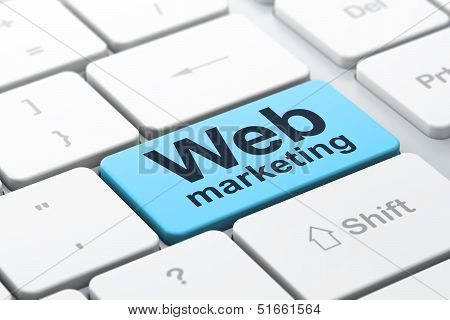 SEO web development concept: Web Marketing on computer keyboard
