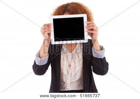 African American Business Woman Holding A Tactile Tablet - Black People